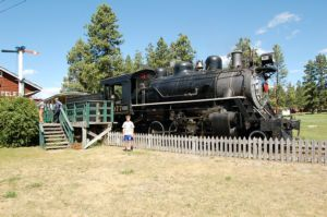 Cody in front of train at Fort Steele
